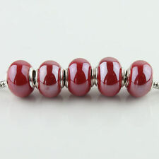 20Pcs Red Ceramics Porcelain Big Hole Charm Spacer Beads Fit European Bracelet