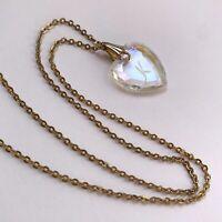 Vintage Initial Letter K Aurora Borealis AB Glass Heart Pendant Necklace Dainty