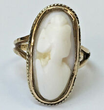 Antique Vintage 10k Yellow Gold Cameo Ring, Size 2.25