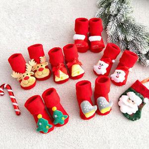 Christmas Newborn Baby Kids Toddler Anti-Slip Socks Shoes Slippers Winter Warmer