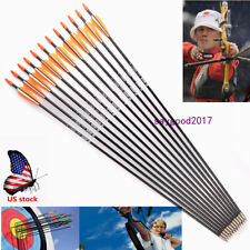 "12pcs 31"" Archery Arrow Fiberglass Arrows Nocks Fletched Target Hunting Practice"