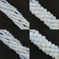 Faceted Glossy 4mm 6mm 8mm 10mm White Opal Opalite Round Loose Beads 15'' Strand