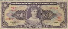 1966 50 CRUZEIROS BRAZIL BRAZILIAN CURRENCY BANKNOTE NOTE MONEY BANK BILL CASH