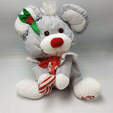 "Puffalump Gray Christmas Mouse Stuffed Fisher Price Candy Cane Nylon 1987 12"""