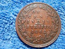 STRAITS SETTLEMENTS:  SCARCE  LARGE CENT 1862  VERY FINE PLUS!!