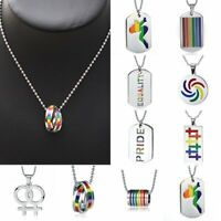 Charm Stainless Steel Rainbow EQUALITY PRIDE Pride Girl Pendant Necklace Jewelry