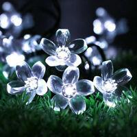 Waterproof  Solar Power String Lights Cherry Flower Garden  Decor 50 LED Light