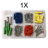 102 PC Drywall & Hollow-Wall Anchor Assortment Kit Anchors Screws 4 Sizes Colors