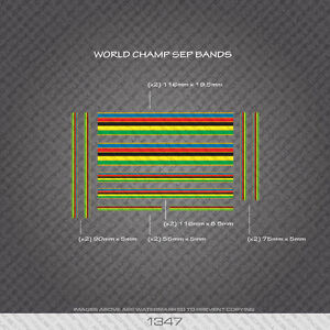 01347 World Champion Stripes Bands - Bicycle Decals Stickers - Gold Edges