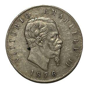 "5 LIRE 1876 ""M""VITTORIO EMANUELE II - BB- RARA - ARGENTO - SCUDO"