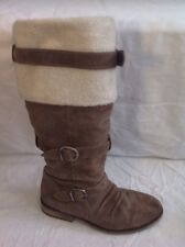 Bronx Brown Knee High Suede Boots Size 38
