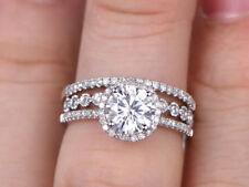 Certified Halo Near White Moissanite Diamond Engagement trio Ring Set 14k Gold