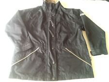 WOMAN'S-OGRE-ALL WEATHER JACKET-SIZE 14-NAVY/BEIGE COLAR-POLYESTER-ZIP FRONT-NEW
