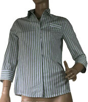 MARIE BRERETON SIZE 8 FITTED STRIPED SHIRT