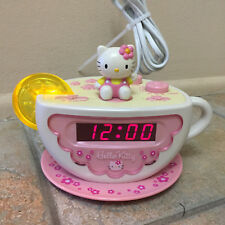 Hello Kitty Tea Cup Shape Alarm Clock Radio Digital Electric Lights Up Very Rare