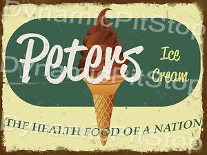30x40cm Peters Ice Cream Rustic Tin Sign or Decal, Man Cave, Bar, Garage, Retro