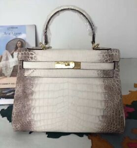 Handmade Genuine Alligator Leather 28cm(11inch) Ladies Woman Bag Handbag White