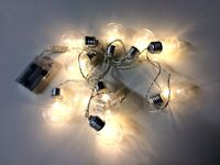 x10 Christmas Festoon Fairy Lights White LED Battery - 2m Clear Wire