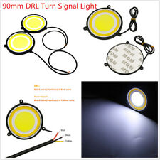 2 Pcs Car SUV White LED 90mm Round Dual Circle Wateroproof DRL Turn Signal Light