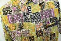 Vtg Mossimo Mens Hawaiian Shirt Psychedelic Button Down Short Sleeve USA M/L