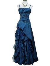 Robe de soirée longue bleue à froufrous taille 42-44