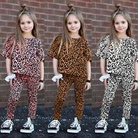 Toddler Kids Baby Girls Leopard Tops Pants Leggings Pajamas Sleepwear Outfits