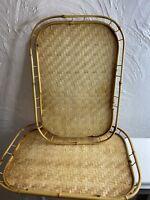 Vintage Set Of 2 Bamboo Woven Rattan Wicker Tiki Bar Serving Trays 19 x 13 Boho