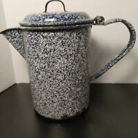 Enamelware, graniteware lidded coffee pot, Navy and white splatter
