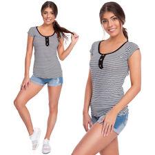 Mujer Verano Marinero Manga Corta Camiseta a Rayas Ajustado Top Suave FB344