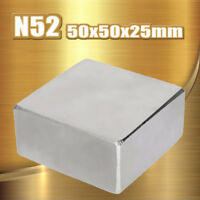 Big Neodymium Square 50 X 50 X 25mm Block Rare Earth Magnet Strongest N52 Grade