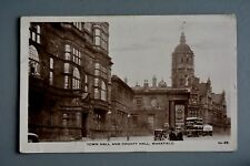 R&L Postcard: Town Hall and County Hall Wakefield, Vintage Bus/Car