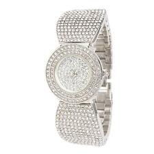 Alias Kim Silver Round Full Crystal Women's Steel Bracelet Bangle Quartz Watch