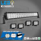 "22inch 120W LED Work Light Bar Spot Flood Combo + 4x 4"" Pods Fog SUV 4WD ATV 24"""