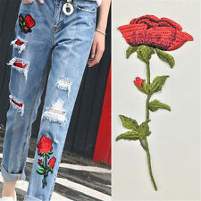 Red Rose Flower Patch Embroidered Iron On Applique Collar Patches Clothes DIY CN