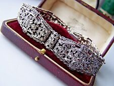 VINTAGE SOLID STERLING SILVER WIDE OPENWORK MARCASITE BRACELET BANGLE 7 1/2""