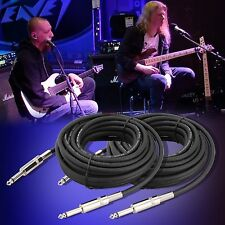 """New 2x 1/4"""" to 1/4"""" 25 Ft. 12 Gauge Wire AWG DJ/ Pro Audio Microphone Cable"""