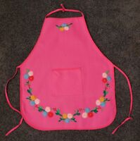 Vintage Child's Embroidered Kitchen Apron Lots of Colorful Flowers & a Pocket