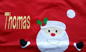 Personalised embroidered christmas santa sack with santa, 58x48cm, any gold name