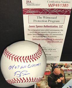 "Terry Francona Red Sox Signed Baseball JSA Witness COA ""04 07 WS Champs"" A"