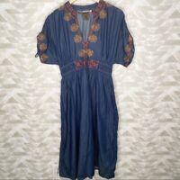 eShakti embroidered chambray midi dress M