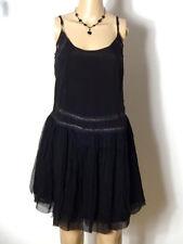 MANGO Kleid Gr. S schwarz knielang Chiffon Hüft Träger-Kleid mit Spitze