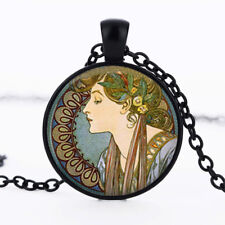 Beautiful lady painting photo dome Black Cabochon Glass Necklaces chain Pendants