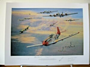 Long Haul to Berlin P-51 B-17 Tuskegee Anthony Saunders 4 Signed Aviation Art