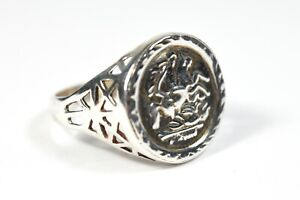 Modern Sterling Silver St George and the Dragon Signet Ring 925 Size O 1/2