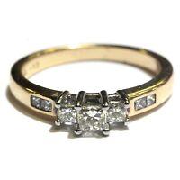 14k yellow gold .52ct 3-stone princess diamond womens engagement ring 3.6g