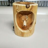 Bear Log Candle Holder - Amish Made Hand Crafted Rustic Tealight Candle Holder