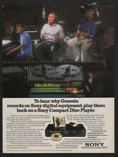 1986 SONY Compact Disc Digital Player - CD - PHIL COLLINS - GENESIS - VINTAGE AD
