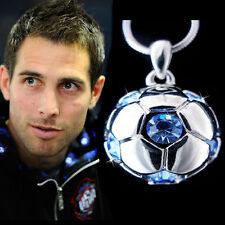 w Swarovski Crystal ~Blue 3D Football Soccer Ball~ Pendant Charm Necklace Unisex