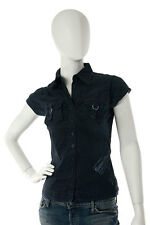 Bench -Extra Small- $62 Navy Blue Fitted Military Button Down Short Sleeve Shirt