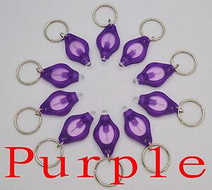 100pcs white light 22000mcd Purple LED Flashlight Keychain Torch Key Chains New